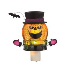 Halloween Shimmer Jack O' Lantern Pumpkin Acrylic Nightlight