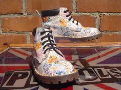 Rare Dr Martens White Floral *Meadow Flowers* UK 1 Girls Hippy Sienna Miller