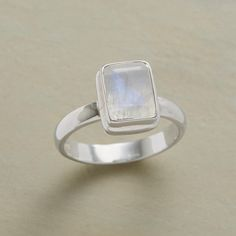DAWN MIST RING--The luminous, misty allure of rainbow moonstone lends this sterling silver band ring ethereal beauty. Exclusive. Whole sizes 6 to 10.