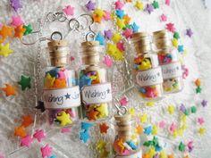 Wishing Star Jar Necklace - Glass Bottle Necklace - Mini Candy Jar. $12.00, via Etsy. http://www.ecrafty.com/c-517-mini-glass-bottles.aspx?pagenum====pricedescending=60
