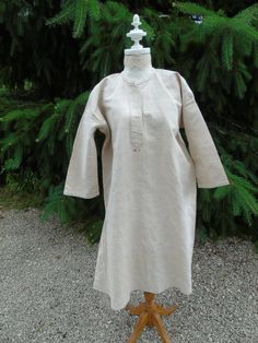 """Antique, French linen hemp, hand sewn, work shirt/tunic/smock , 19th century.  Monogrammed in red  """"M J"""". Unused.  Excellent condition."""