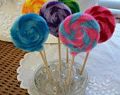 6 Faux Candy Lollipops, Chenille Swirl Lollipops, Pops, Lolipops, Faux Treats, Party Favors, Fake Food, Treasury Item