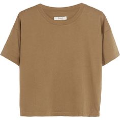 Madewell Cropped cotton-jersey T-shirt (630 MXN) ❤ liked on Polyvore featuring tops, t-shirts, shirts, crop tops, boxy t shirt, crop t shirt, madewell shirt, brown tops and boxy top