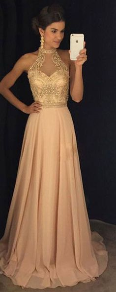 Fashion Halter Neck Beading Long Prom Dress