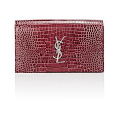 Saint Laurent Monogram Kate Clutch (8.485 DKK) ❤ liked on Polyvore featuring bags, handbags, clutches, red, yves saint laurent purses, yves saint laurent handbags, monogrammed clutches, rose purse and croc purse