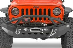 Protect the entire front of your JK with this Fishbone Offroad Full Width bumper. Fishbone Offroad uses a recessed winch plate to keep air moving across your grill. This bumper includes 2 LED lights that are installed in the bumper.