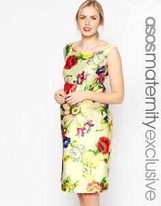 ASOS Maternity Bardot Pencil Dress In Bright Daisy Print
