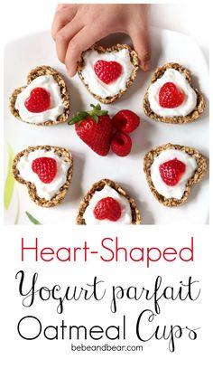 Heart Shaped Yogurt Oatmeal Parfait Oatmeal Cups