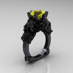 Love and Sorrow 14K Black Gold 3.0 Ct Yellow Sapphire Skull and Rose Solitaire…