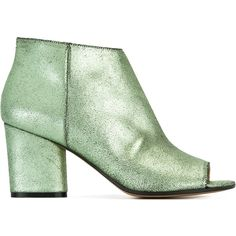 Maison Margiela ankle boots ($845) ❤ liked on Polyvore featuring shoes, boots, ankle booties, green, open-toe boots, green boots, open toe ankle boots, leather ankle boots and leather booties