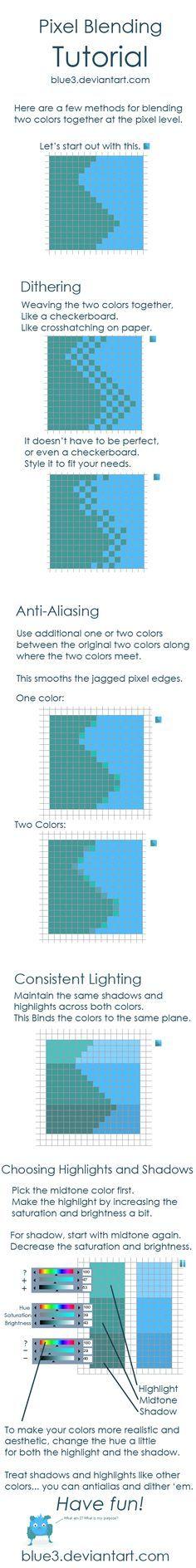 Pixel Blending + Shading Tips by BluE3.deviantart.com on @deviantART