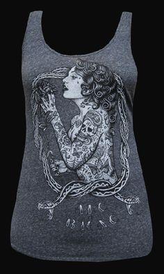 "Black Market Art Women's Eve Racer Back Tank - Beautiful Black and grey ""tattooed lady"" design on this 100% cotton tank."