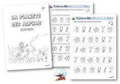 La planète des Alphas Alphabet Alpha, French Kids, Learn French, Literacy, Kindergarten, Bullet Journal, Coding, Teaching, Math