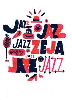 Both jazz art and jazz in art - creative using just two colors; you can almost hear the music playing as you look at it...
