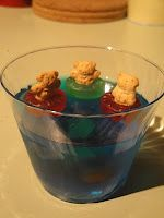 Preschool Snack: Alphabet Ocean (gummy letters in blue jello with Teddy's floating in life savers)