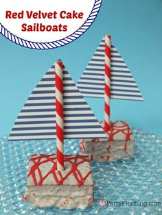 Party Planning - Party Ideas - Cute Food - Holiday Ideas -Tablescapes - Special Occasions And Events - Party Pinching - Cutie Pies Sailboat Cake, Nautical Cake, Nautical Party, Cute Snacks, Cute Food, Beach Ball Cake, Red Velvet, Velvet Cake, Edible Sand