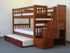 Bunkbeds with an extra trundle bed and storage drawers. Bunk Beds With Drawers, Bunk Bed With Trundle, Bunk Beds With Stairs, Cool Bunk Beds, Twin Bunk Beds, Bed Stairs, Loft Beds, Stair Drawers, Toddler Bunk Beds