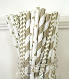 25 Paper Straws,Gold Stripes and stars