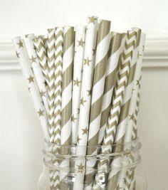 25 Paper StrawsGold Stripes and stars Chevron by ThePaperDivaa, $4.00