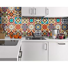 Backsplash Peel and Stick Tile Stickers 24 PC Set (6 x 4PC) Authentic Talavera Tiles Stickers Bathroom & Kitchen Vinyl Tile Decals Easy to Apply Just Peel & Stick Home Decor (Vivid Blue, 4x4 Inch)