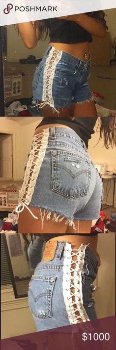 OFFERS side lace up distressed Levi shorts High waisted and so cute! Hand made… Diy Clothing, Sewing Clothes, Clothing Patterns, Fashion Sewing, Diy Fashion, Fashion Outfits, Punk Fashion, Mode Outfits, Short Outfits