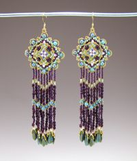 Free Venetian Tapestry Earrings Beading Pattern from MGS Designs featured in recent Bead-Patterns.com Newsletter!