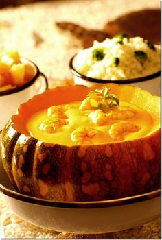 "Camarao na moranga - ""shrimp in the pumpkin"" baked pumpkin with shrimp in a sauce with lots of cream cheese spread"