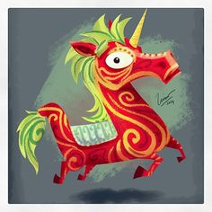 #UNICORN in Kuda Lumping style. By Louis D. Wiyono - Wizmaya Design Studio #illustration #kudalumping #indonesia #art