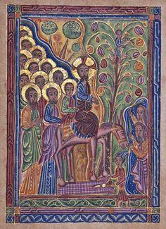 Entry into Jerusalem - 17th century Armenian illumination - Palm Sunday