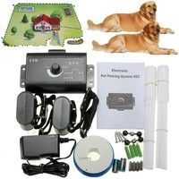 Geek   USA STOCK For 2 Dogs Underground Electric Dog Fence Wireless Shock Collar Waterproof Hidden System