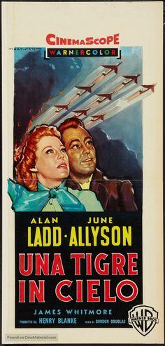 The McConnell Story (1955) Stars: Alan Ladd, June Allyson, James Whitmore, Frank Faylen, Willis Bouchey ~ Director: Gordon Douglas (Italian Poster by  Luigi Martinati)