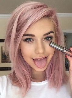 Image result for pink tinted grey hair