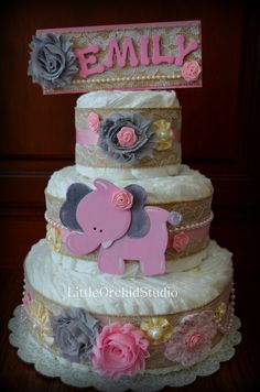 Shabby Chic Diaper Cake/ Burlap Diaper Cake/ Burlap and Lace/ Baby shower centerpiece/Pink Safari/ Elephant diaper cake/ Grey and Pink/ by LittleOrchidStudio