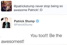 Oh, I love Patrick Stump