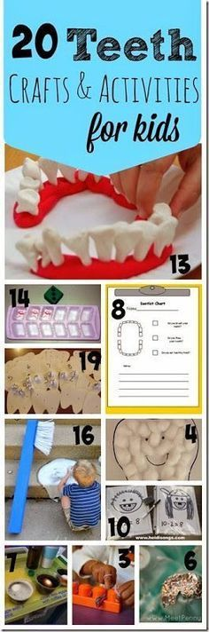 Dental Health Month! 20 super creative teeth crafts and teeth activities for kids in the month of February. Great for toddler, preschool, kindergarten and elementary age kids