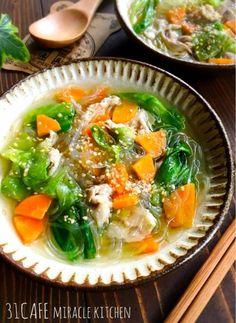 ♡超簡単♡豚ばらレタスde塩ラーメン風春雨スープ♡【#時短#節約#ヘルシー】 : Mizuki