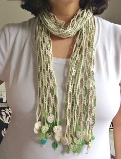 Inspiration - Nature hearted beaded crochet summer scarf by GabyCrochetCrafts