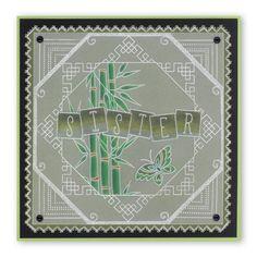 Bamboo and Hexagon plate Groovi card created by Susan Moran