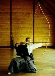Japanese kyudo longbow (Japanese longbows were designed to be fired from horseback, hence their strange shape)