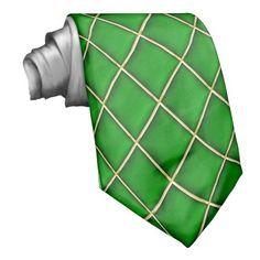 Green Diamonds Pattern Mardi Gras Tie