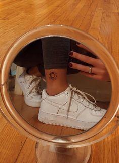 Sun & moon ankle tattoo on We Heart It Ankel Tattoos, Cute Ankle Tattoos, Ankle Tattoos For Women, Cute Tiny Tattoos, Small Tattoos, Tattos, Arrow Tattoos, Mini Tattoos, Body Art Tattoos