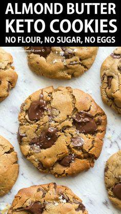 Almond Butter Keto, Almond Butter Cookie Recipe, Recipes With Almond Butter, Almond Cookies, Flourless Chocolate Chip Cookies, Almond Butter Fat Bombs, Flourless Desserts, Almond Flour Muffins, Raisin Cookies