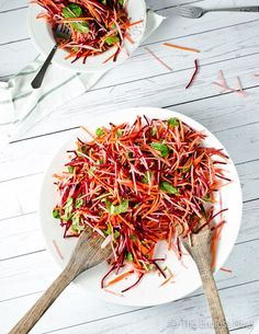 This beet and apple salad is a similar to a mayo free coleslaw. The crisp carrots, beets and apple are a welcome departure from most winter salads.