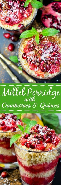 Vegan millet porridge with cranberries, quinces, and apples. Topped off with cinnamon, pomegranate seeds, and coconut flakes, Perfect for a healthy and delicious breakfast or dessert!