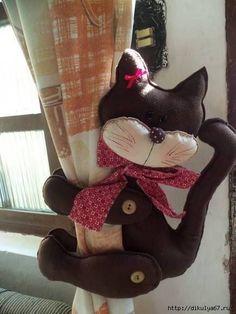 Moldes para hacer un sujeta cortinas de gatos - Ideas de Manualidades