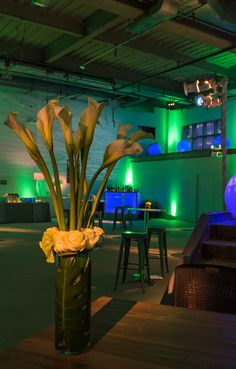 Lime green uplighting, slate blue pattern projections, pin spotting, custom gobo projection, and stair wash for a corporate holiday party in Pennsylvania. Lighting by Synergetic Sound + Lighting: www.synergeticsounds.com