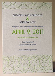 13 best wedding invitations images on pinterest bridal invitations letterpress wedding invitation two color green and blue design and printed by larry stopboris Choice Image