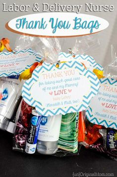 Just an idea.if I actually have time to do this! Lol, Thank you bags for labor & delivery nurses - bring along with you to the hospital as little thank you gifts for the amazing nurses! Labor Nurse Gift, Delivery Nurse Gifts, Thank You Bags, Thank You Nurse Gifts, Preparing For Baby, After Baby, Everything Baby, Baby Time, Nicu