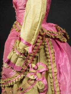 Cage, French Silk, Draped Dress, Satin Dresses, Pink Gowns, Bustle, Collar Dress, Piece Of Clothing, Floral Maxi Dress
