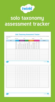 Solo Taxonomy Assessment Tracker